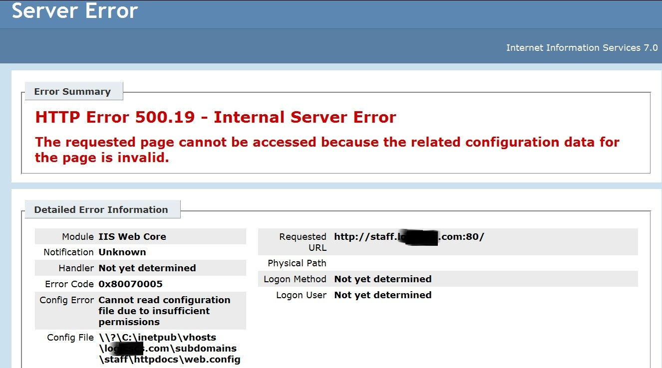 ASP.NET error in plesk9.5 created subdomain