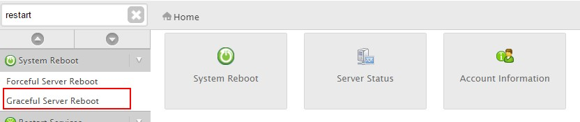 Reboot server within whm 3